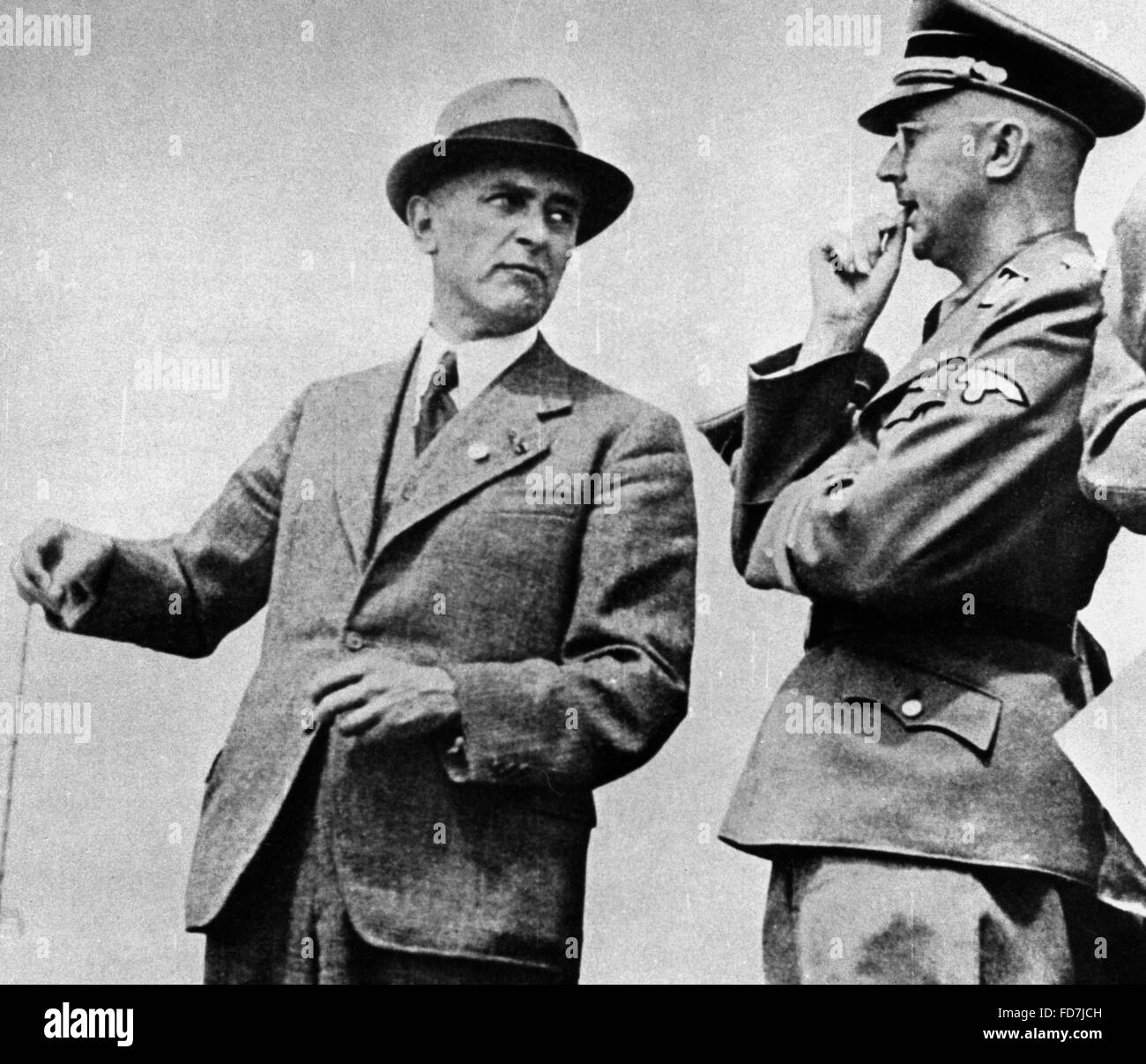 Max Faust and Heinrich Himmler in Auschwitz - Stock Image