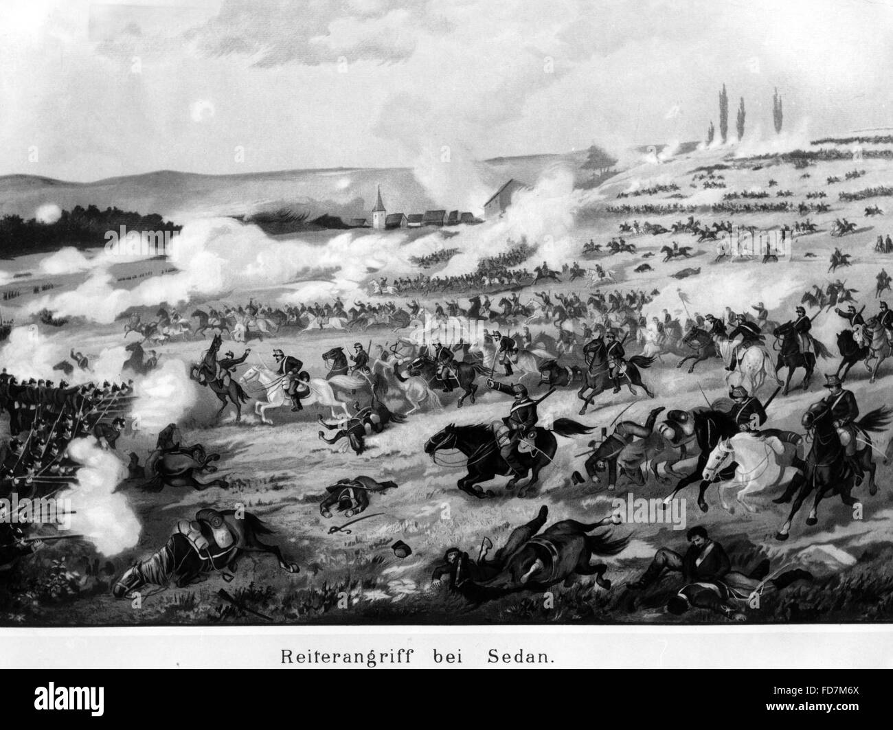 Cavalry charge at Sedan, 1870 - Stock Image