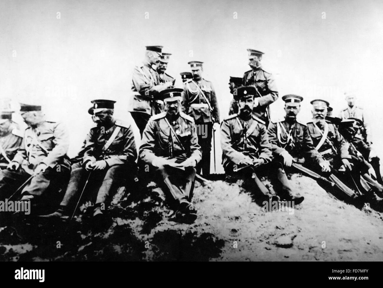 Tsar Nikolaus II. during a military manoeuvre, 1912 - Stock Image