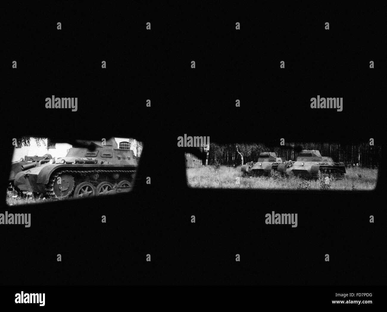 Looking through the eye slit of a Panzer I, 1935 - Stock Image