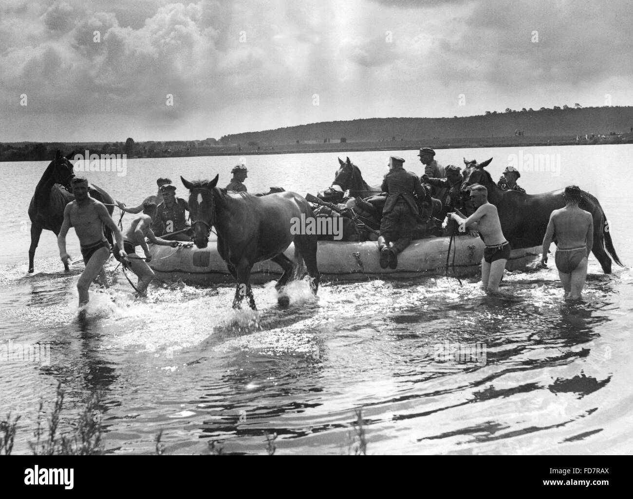 Cavalry of the Wehrmacht during an exercise on the Oder, 1935 - Stock Image