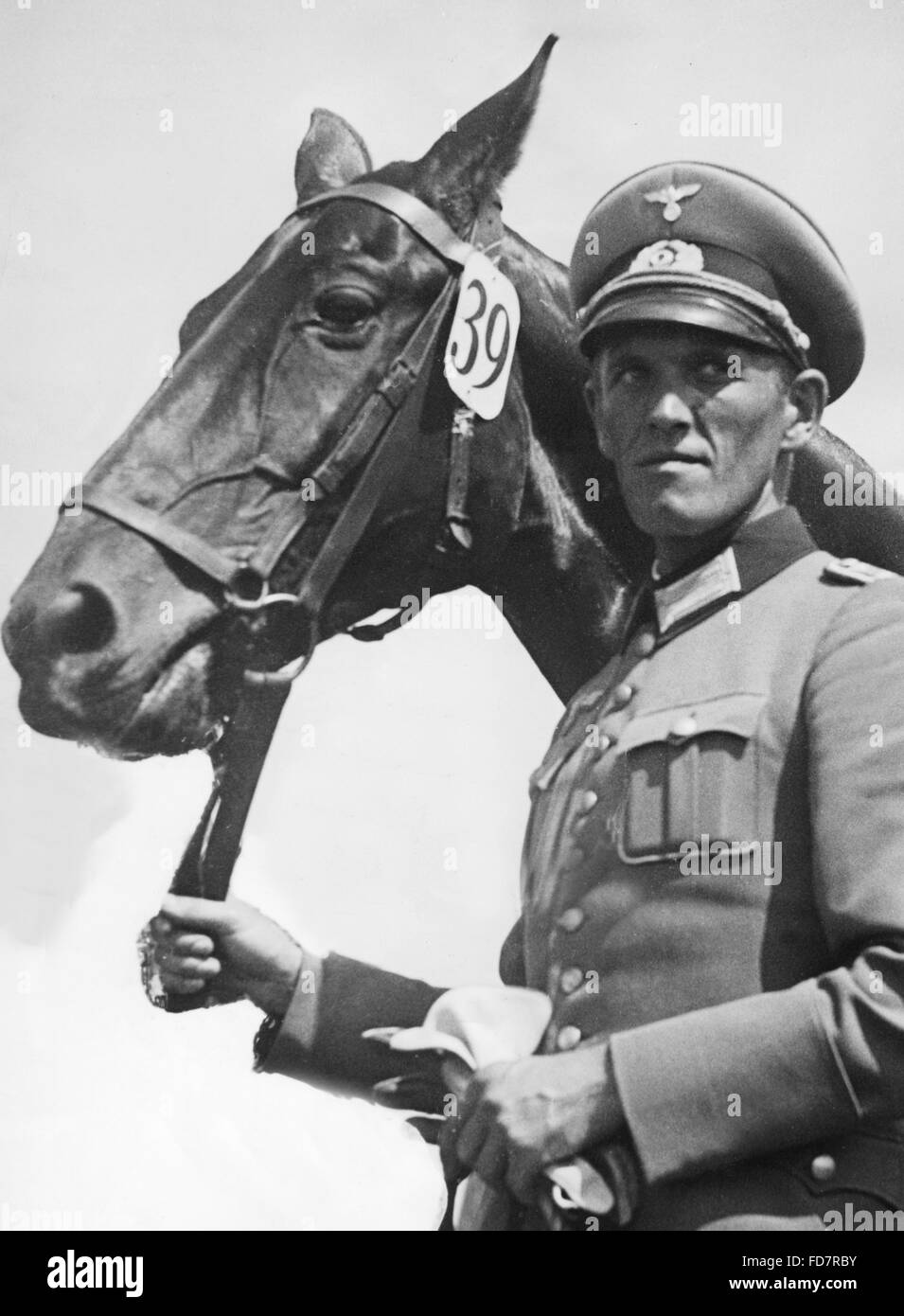 Cavalryman preparing for the Olympic Games,1935 - Stock Image