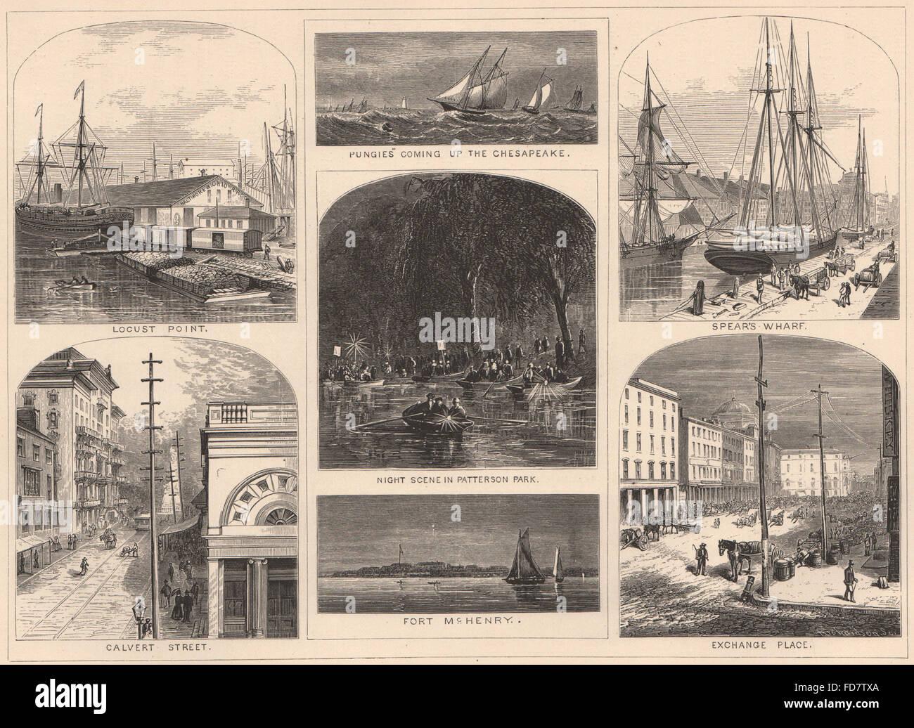 BALTIMORE:Pungies Ft McHenry Locust Pt Calvert St Spear's Wharf Exchange Pl 1874 - Stock Image