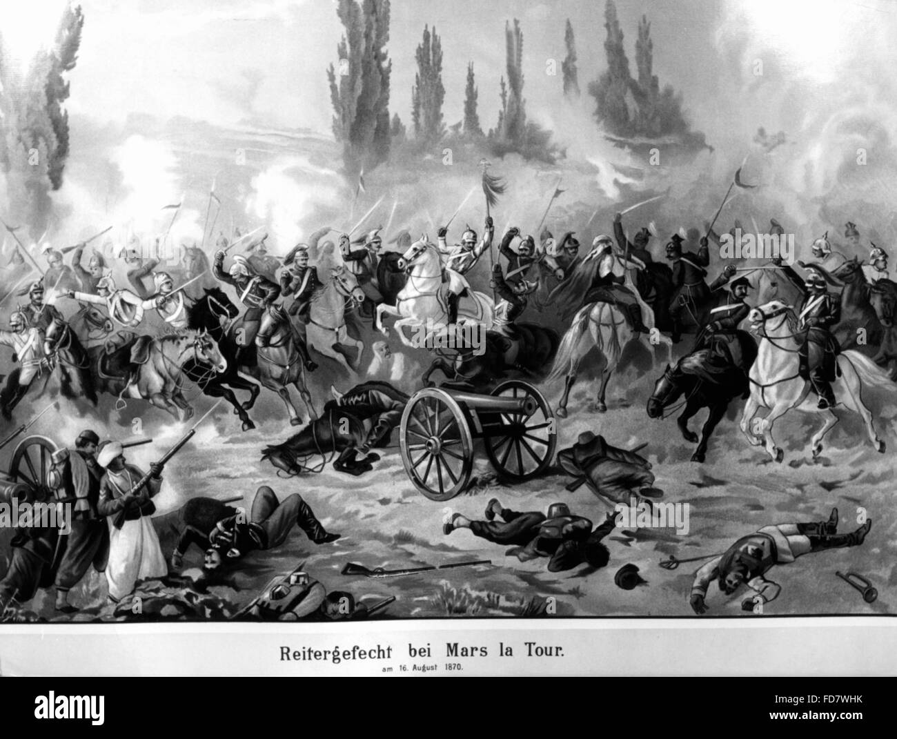 Cavalry fight at Mars la Tour during the Franco-German War, 16.08.1870 - Stock Image