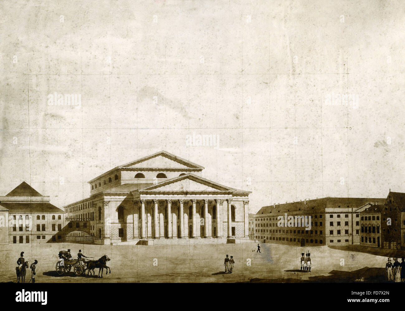 National Theater in Munich, 1824 - Stock Image
