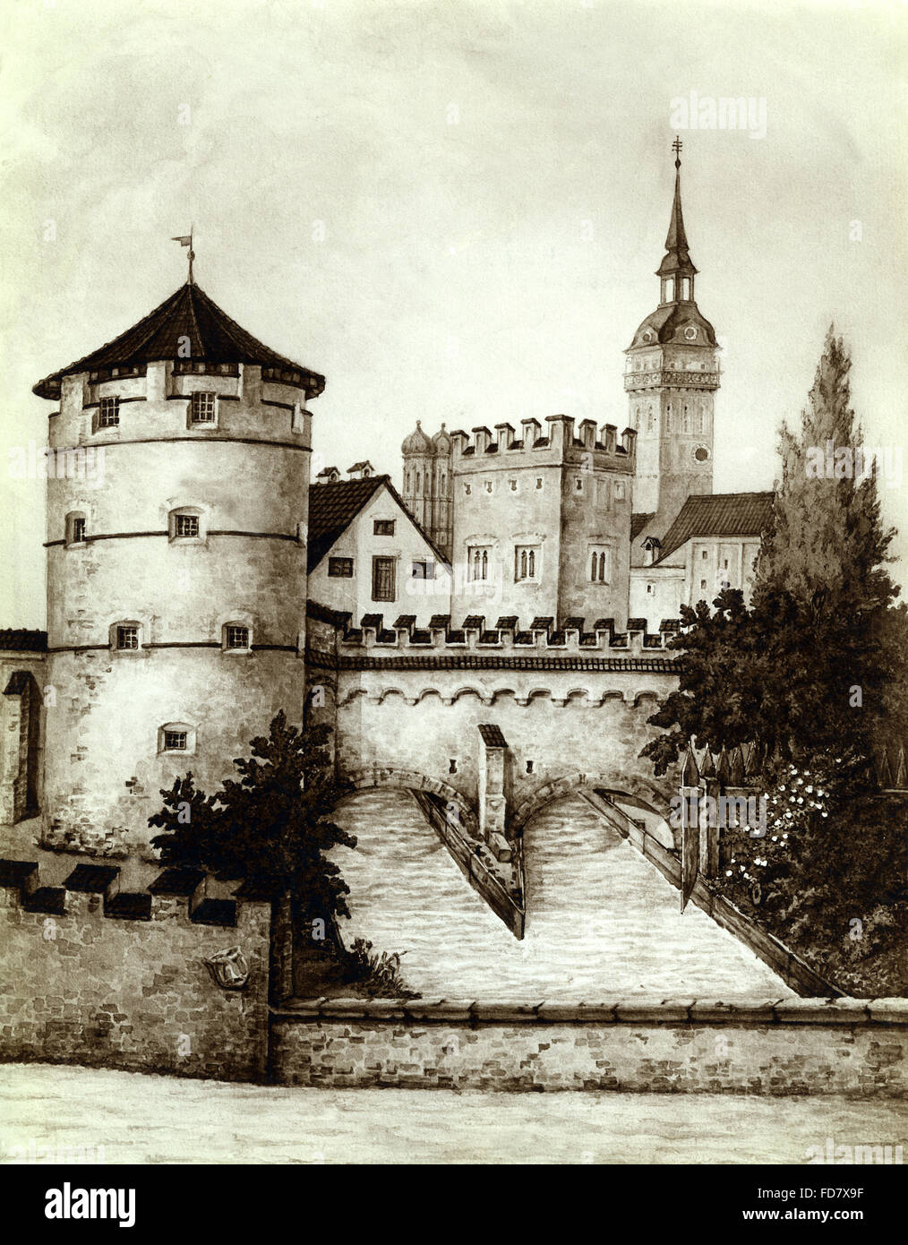 Old town gate on the Viktualienmarkt in Munich, 1836 - Stock Image