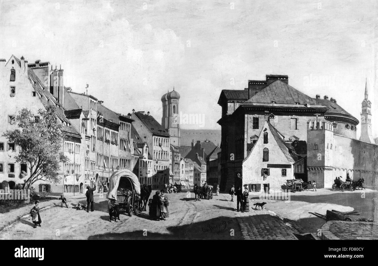 Unterer Anger in Munich, 1879 - Stock Image