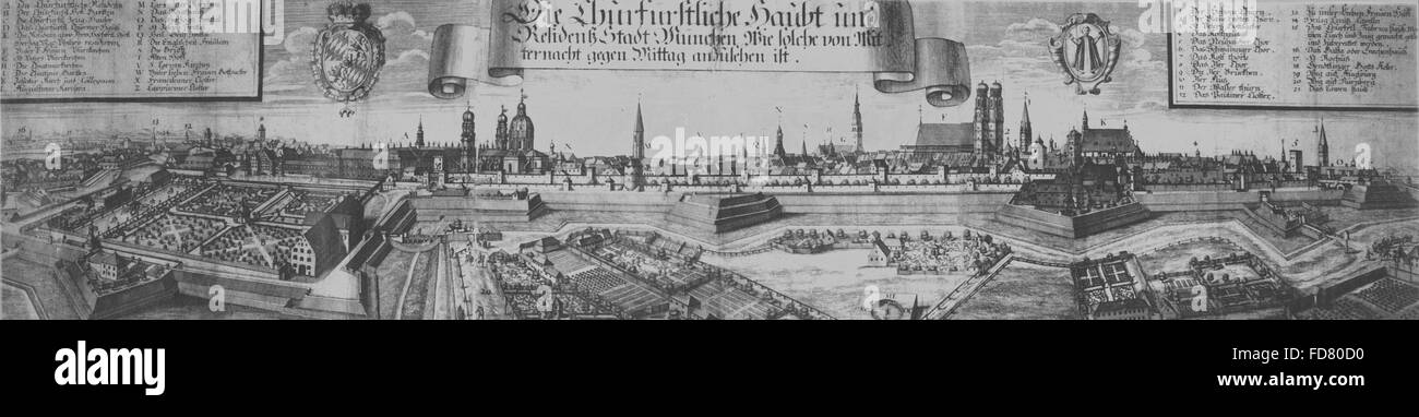 Overview of Munich, 1700 - Stock Image
