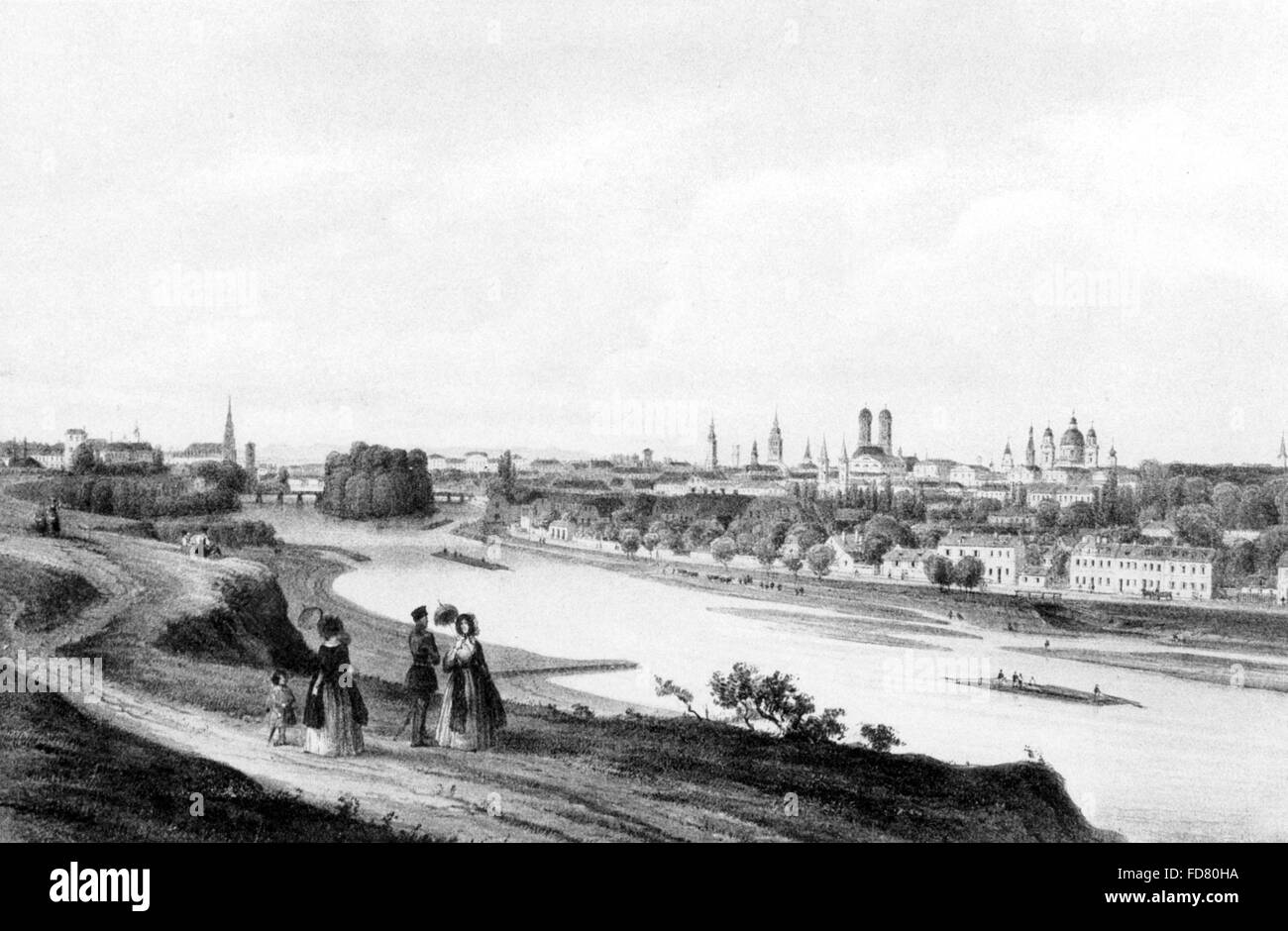 Cityscape of Munich, 1852 - Stock Image