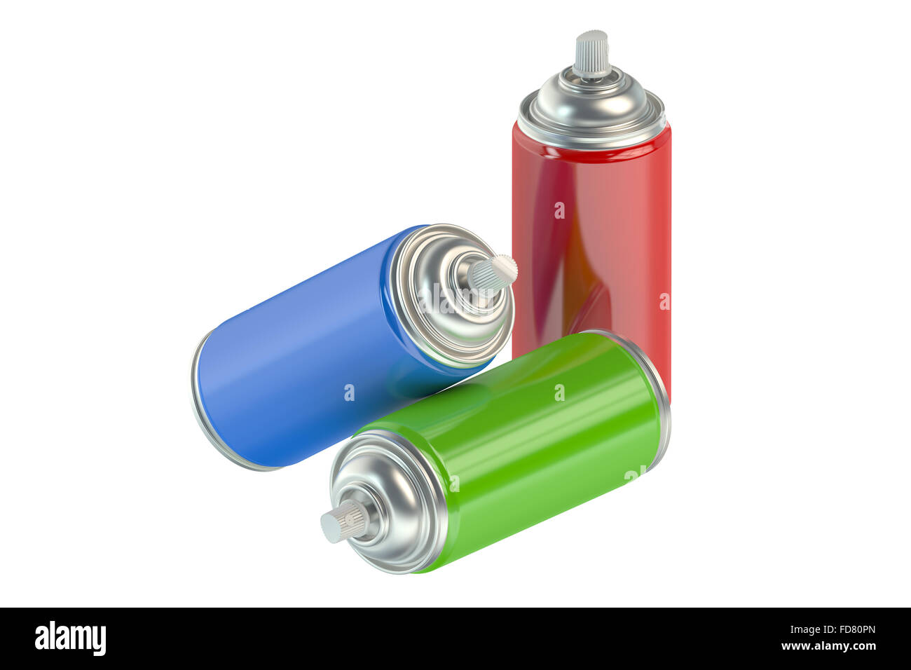 spray paint cans isolated on white background Stock Photo