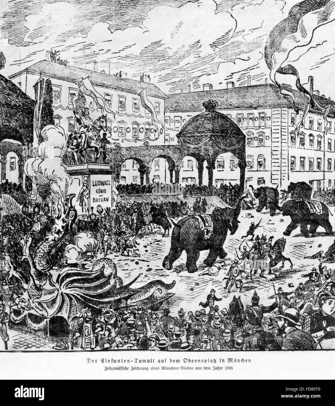 The 'Elefanten-Tumult' on Odeonsplatz in Munich, 1888 - Stock Image