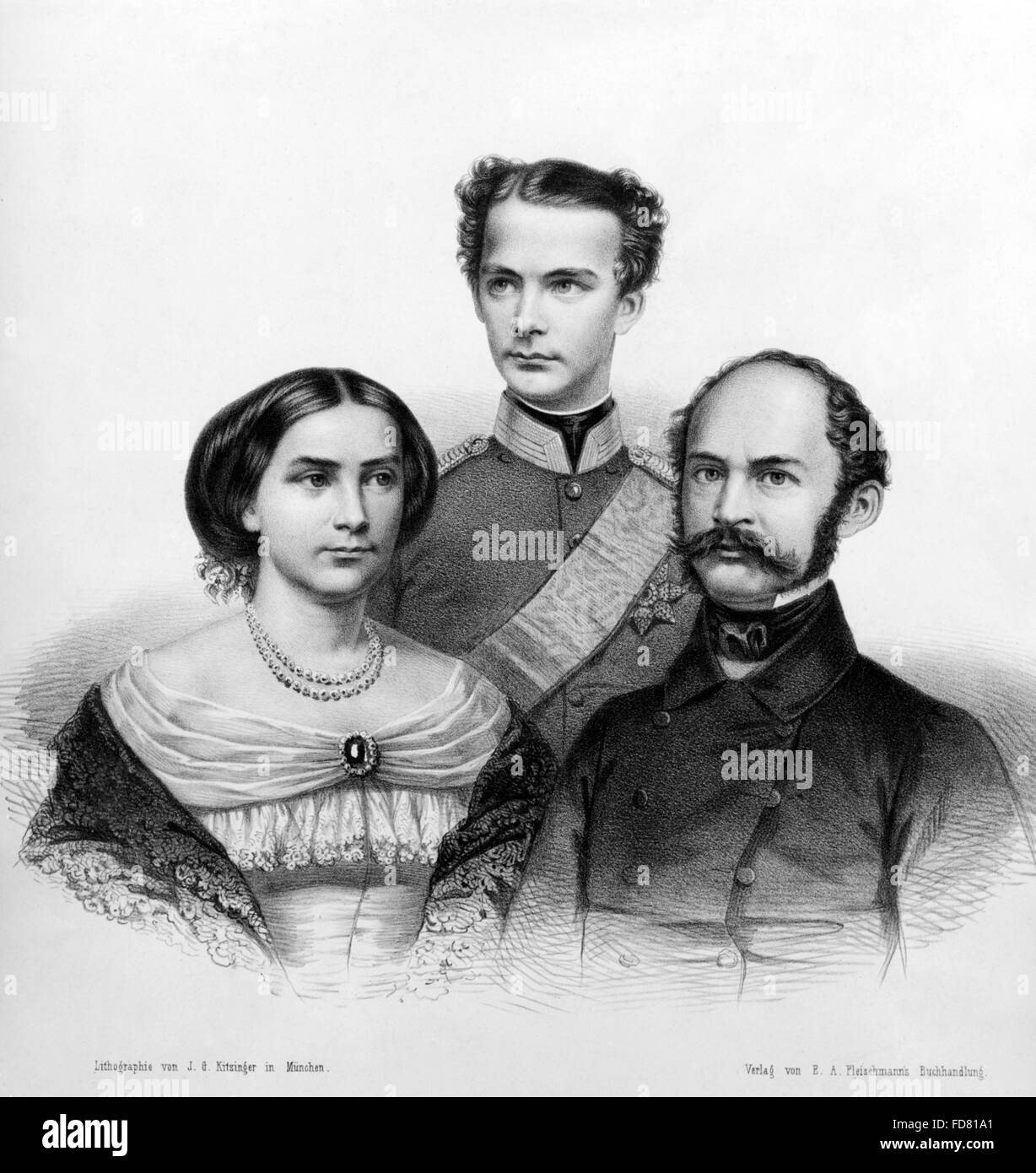 Ludwig II of Bavaria with his parents - Stock Image