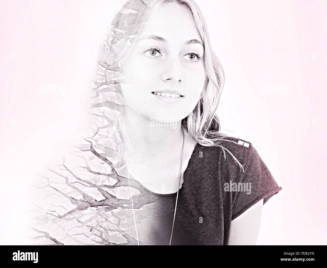 Digital Composite Of Smiling Woman And Tree - Stock Image