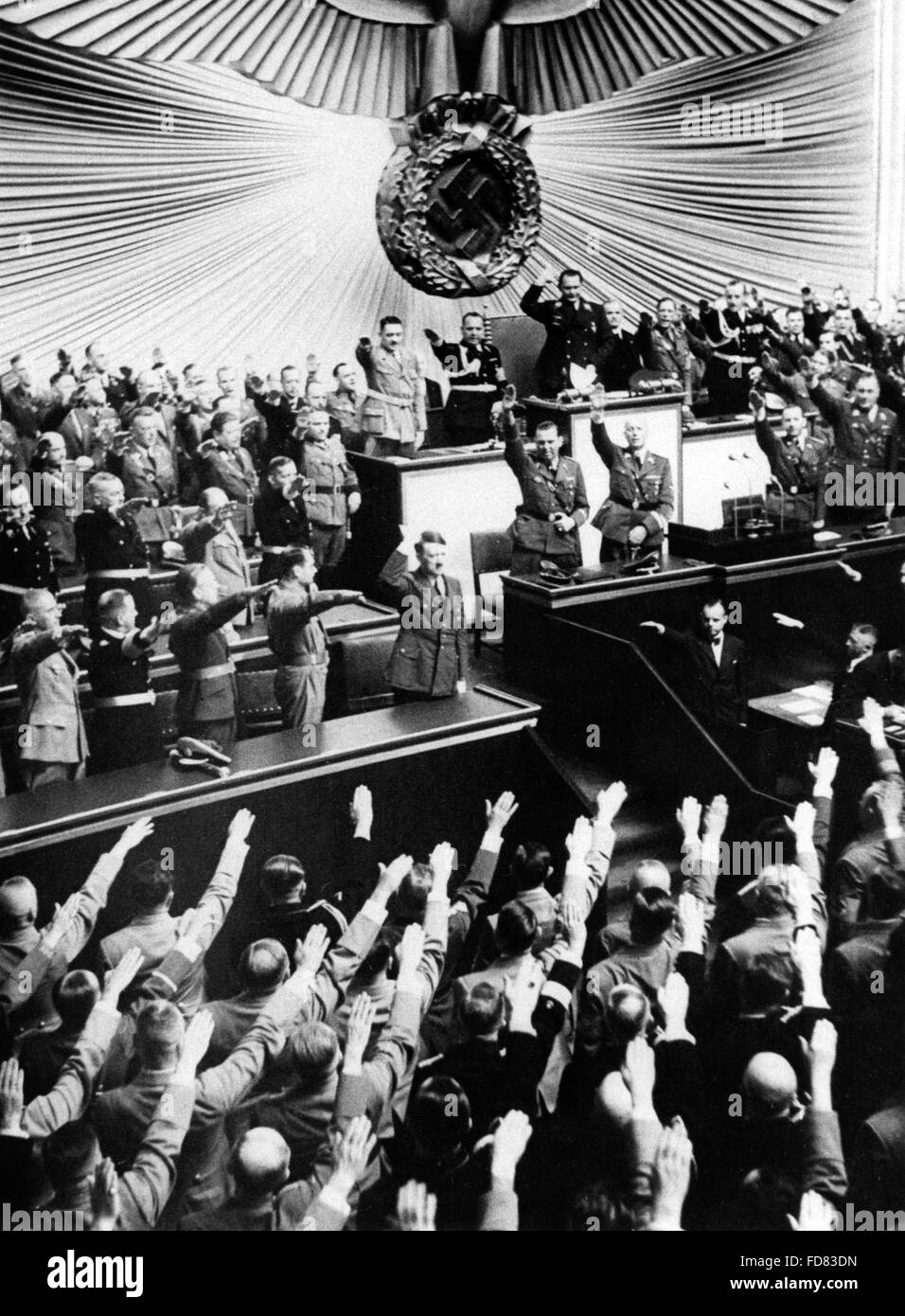 Adolf Hitler in the Reichstag, 1939 - Stock Image
