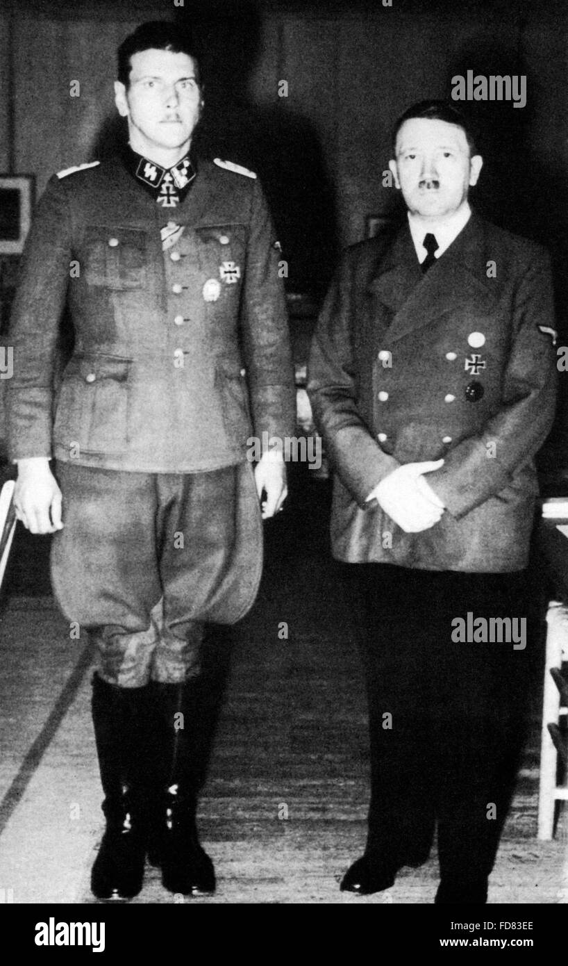 Adolf Hitler with Otto Skorzeny, 1943 Stock Photo
