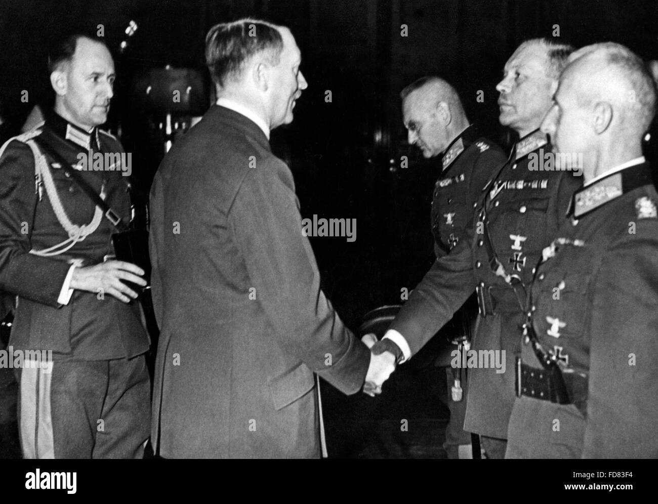Adolf Hitler awards the generals in charge of the Poland campaign, 1939 - Stock Image