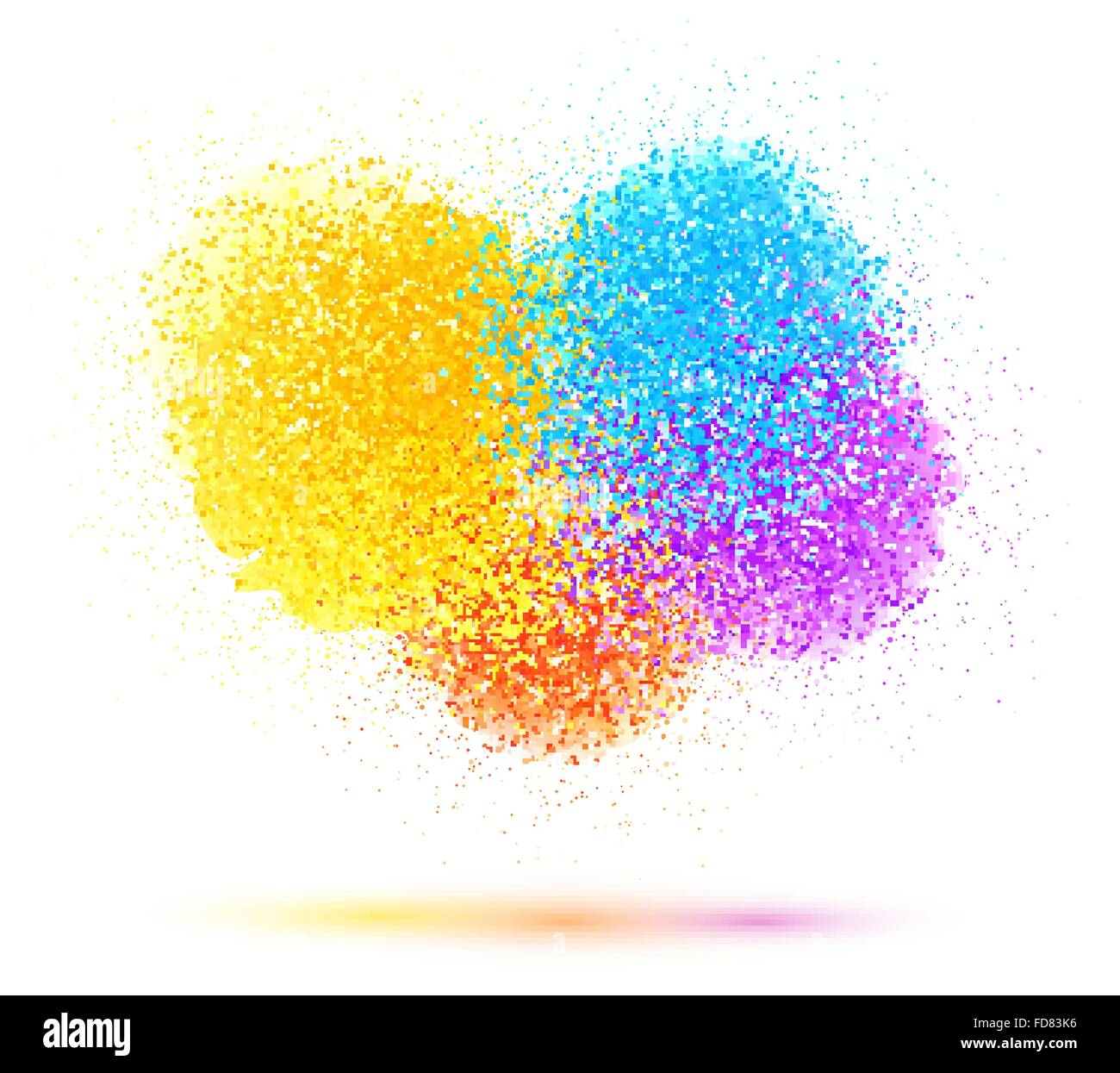 Colorful Paint Splash And Powder Cloud On White Background Stock