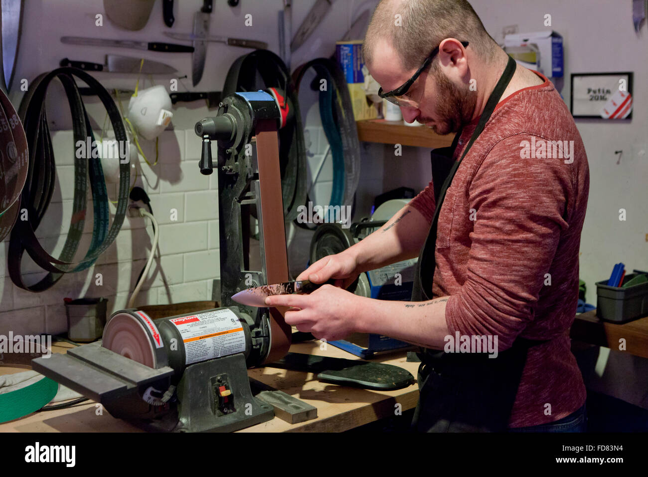 Man sharpening kitchen knife on belt sander - USA - Stock Image