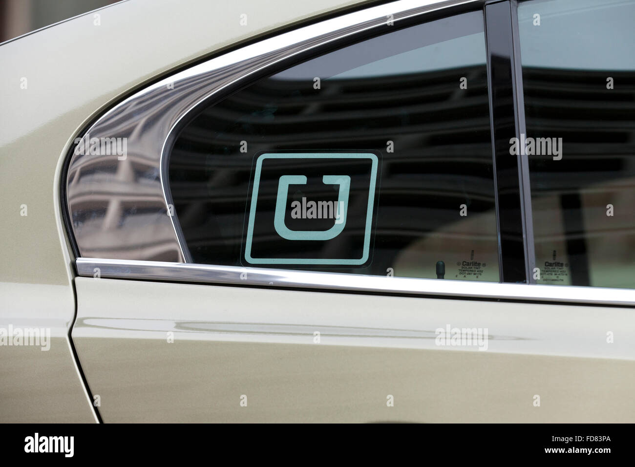uber sticker on car window usa stock photo 94220962 alamy. Black Bedroom Furniture Sets. Home Design Ideas