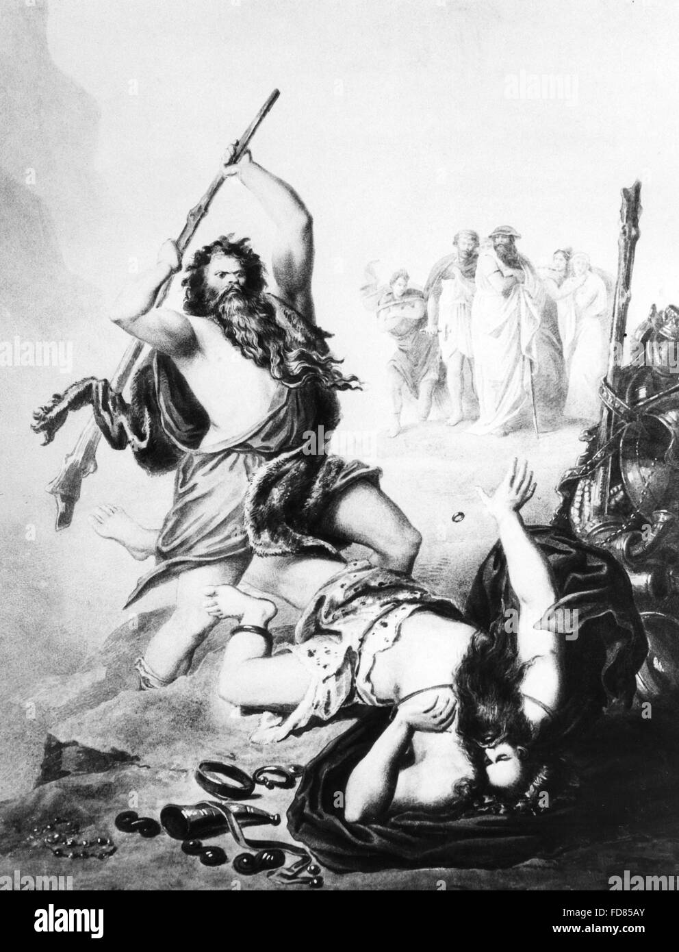 Battle of the giants from the Nibelung Saga - Stock Image