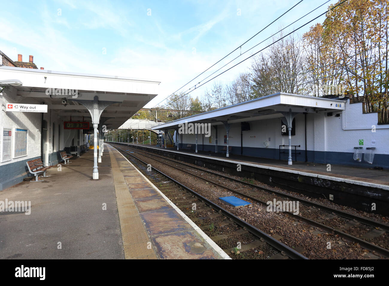 Prittlewell train station in Essex Abellio Greater Anglia AGA platforms entrance track railway station blue sky Stock Photo