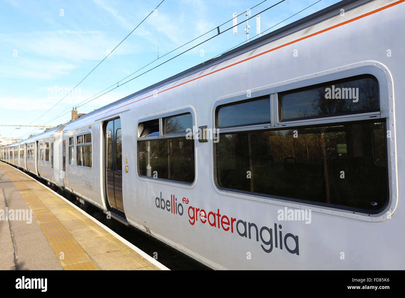 Abellio Greater Anglia train on the platform at Prittlewell Essex AGA Stock Photo
