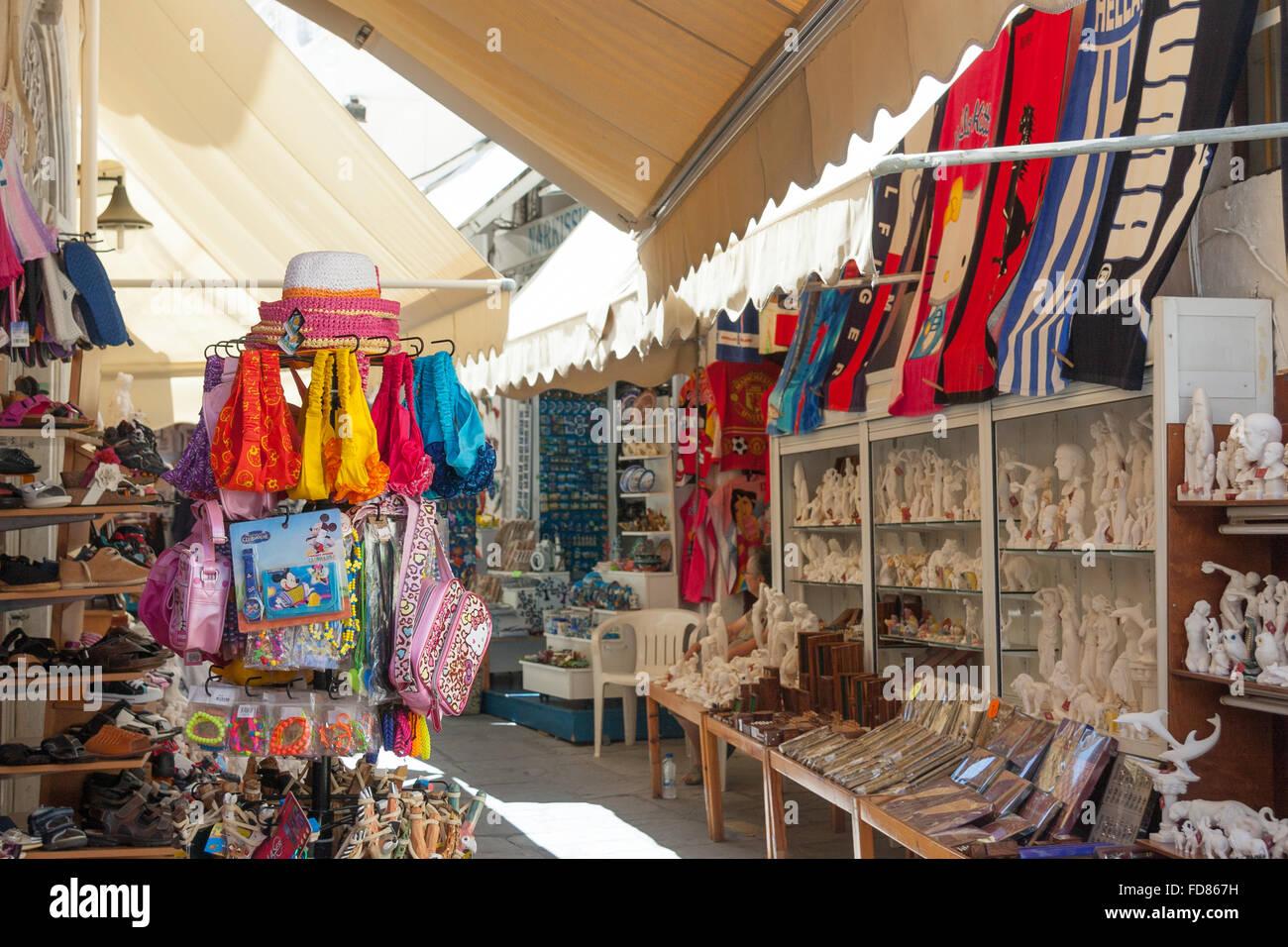 Tourist souvenir street market shop in Kos Town, Greece Stock Photo