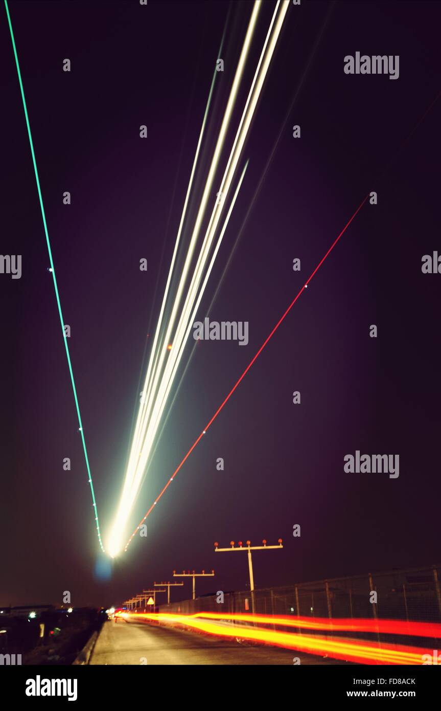 Plane Landing Long Exposure Effect - Stock Image