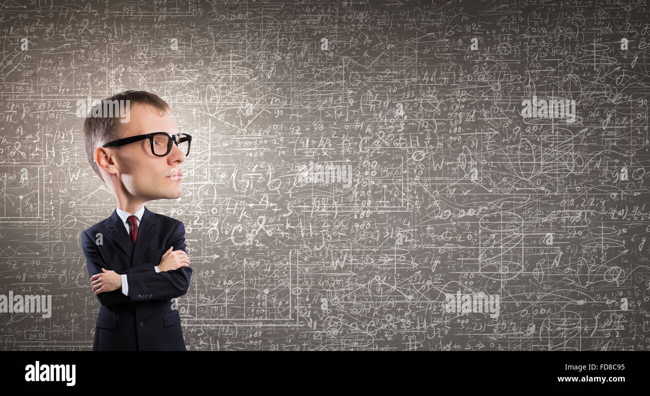 13d655b865 Young funny man in glasses with big head Stock Photo  94227649 - Alamy