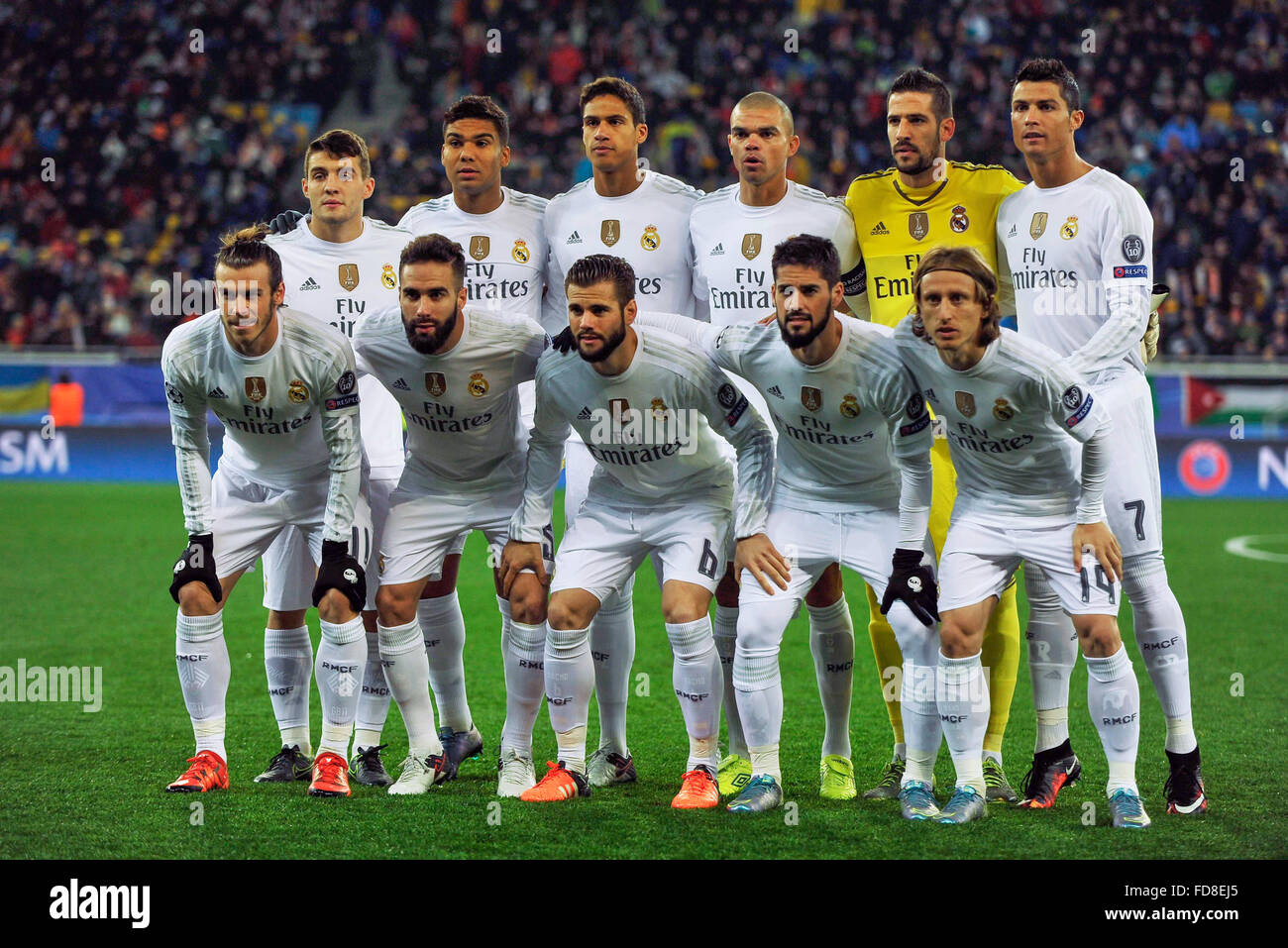 Real Madrid team during football match between FC Shakhtar Donetsk and Real Madrid CF. UEFA Champions league 2015 - Stock Image