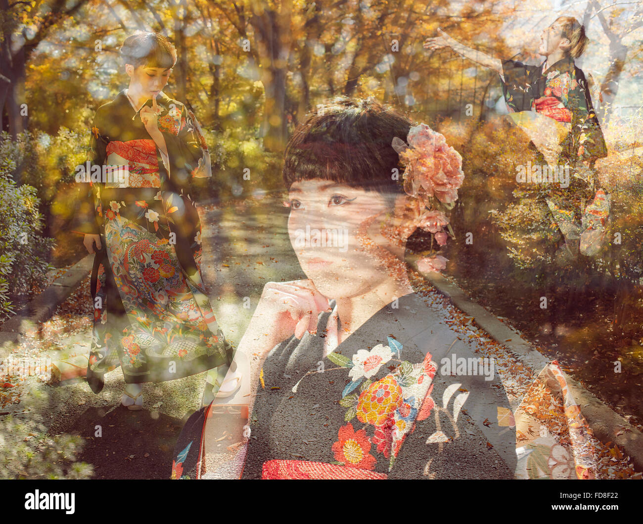 Multiple Exposure Of Woman And Autumn Trees - Stock Image