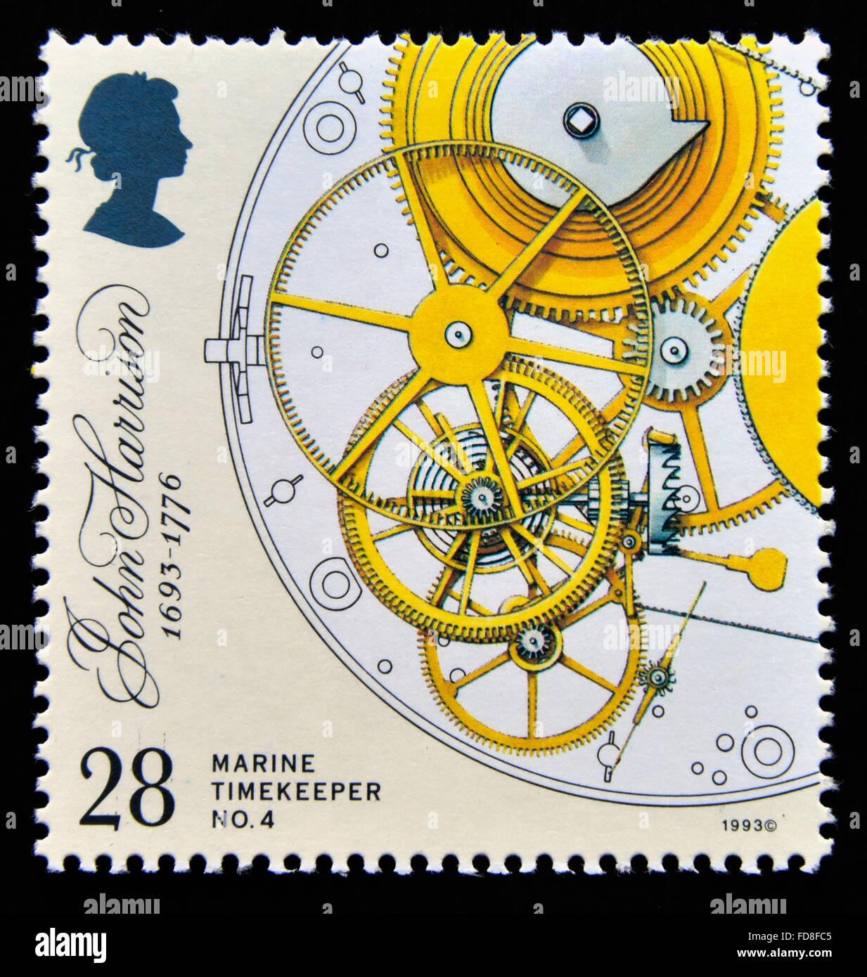 Postage stamp. Great Britain. Queen Elizabeth II. 1993. 300th. Birth Anniversary of John Harrison. 28p. - Stock Image