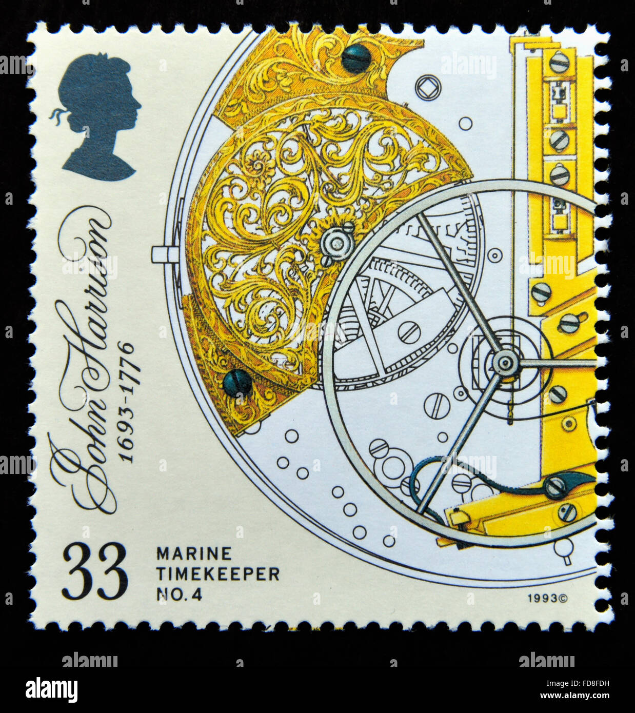 Postage stamp. Great Britain. Queen Elizabeth II. 1993. 300th. Birth Anniversary of John Harrison. 33p. - Stock Image
