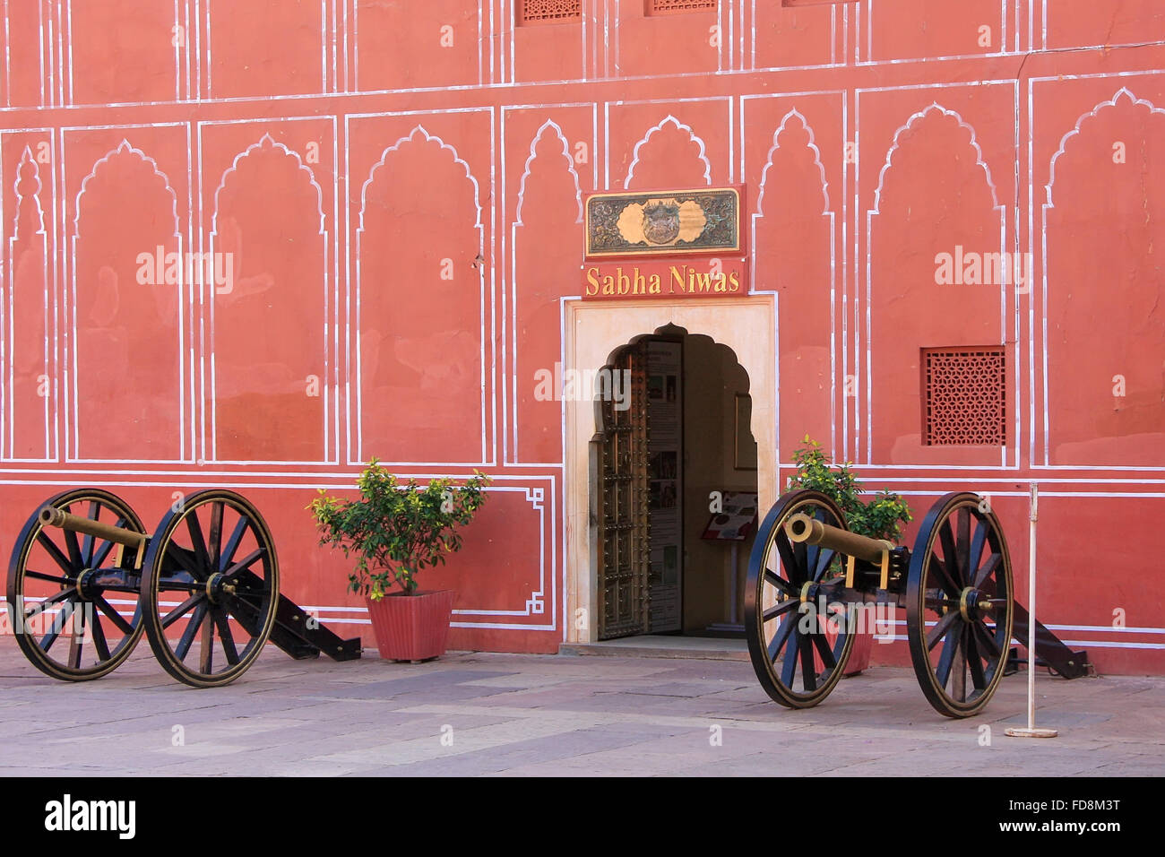 Cannons on display at Chandra Mahal in Jaipur City Palace, Rajasthan, India. Palace was the seat of the Maharaja - Stock Image