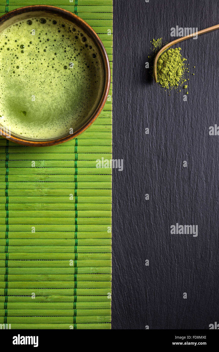 Matcha tea and spoon with space for text - Stock Image