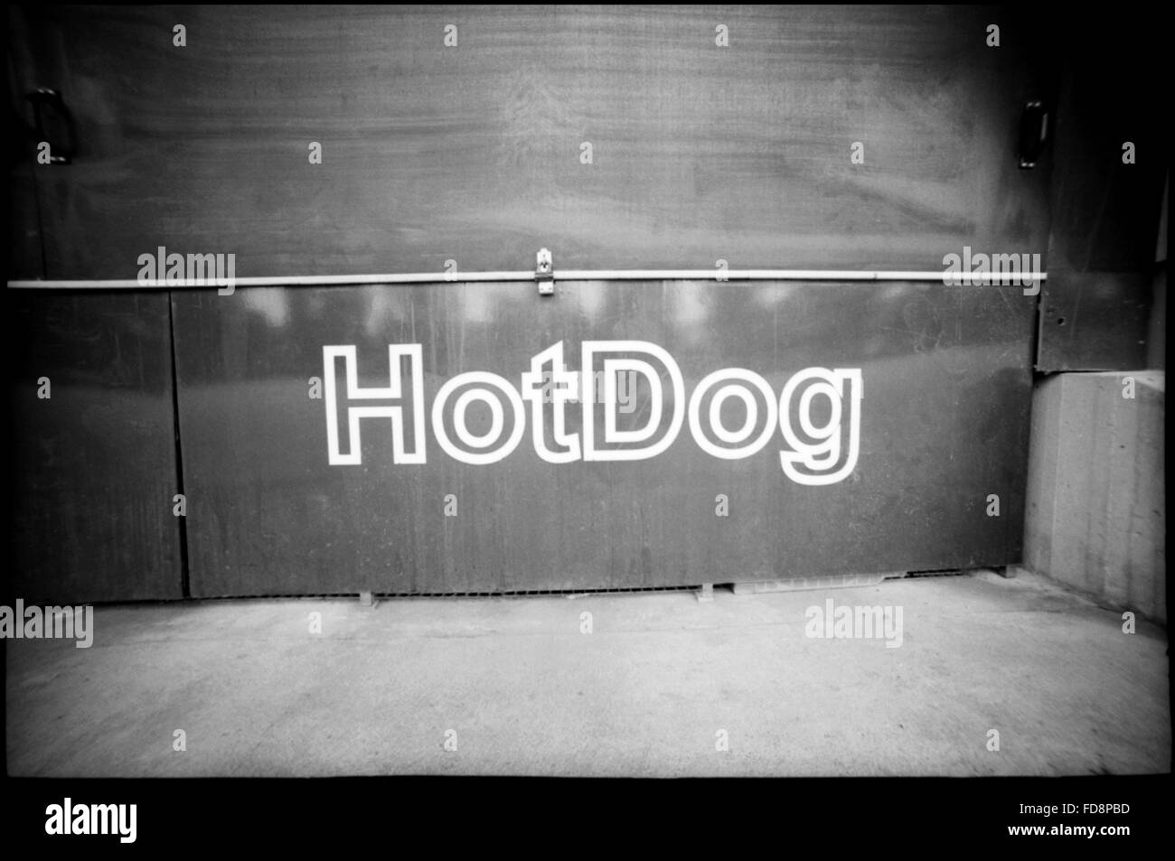 Hotdog Written On Wall - Stock Image