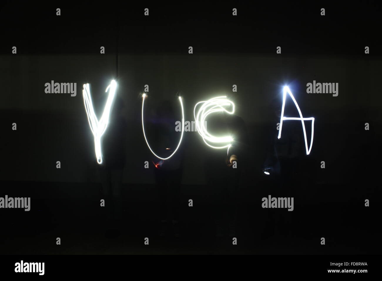 Text Made By Light Trail - Stock Image