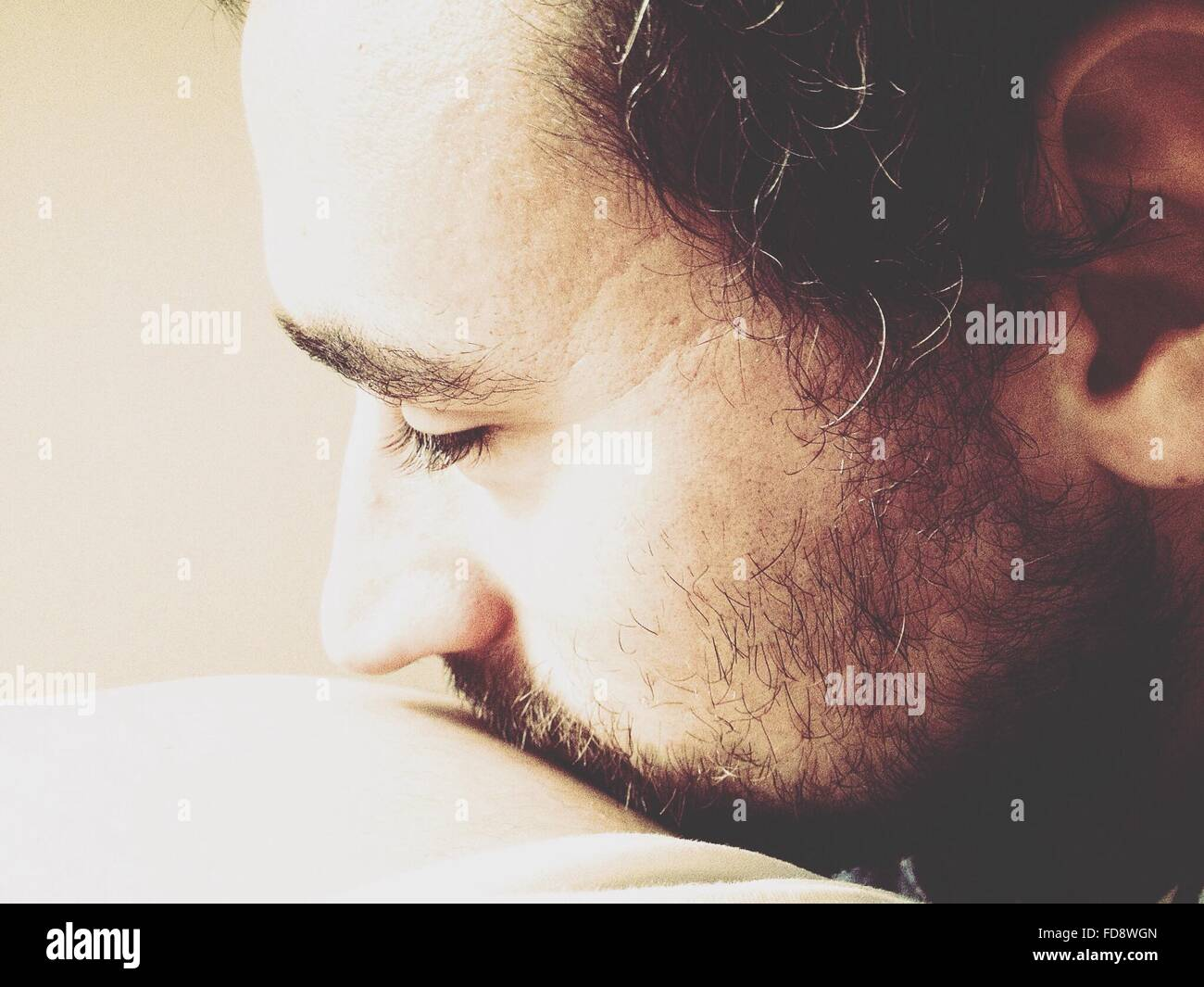 Cropped Image Of Mid Adult Man Face With Beard - Stock Image