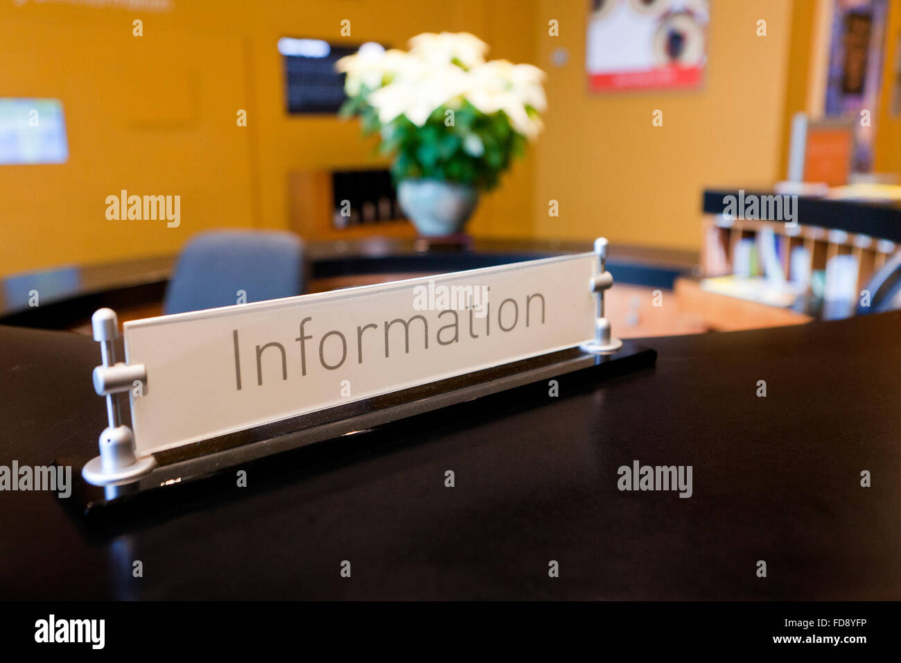 Information desk plate - USA Stock Photo