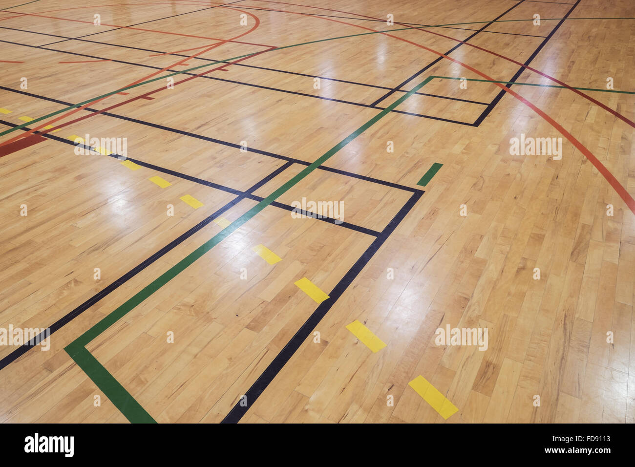 Multisport floor in old gymhall - Stock Image