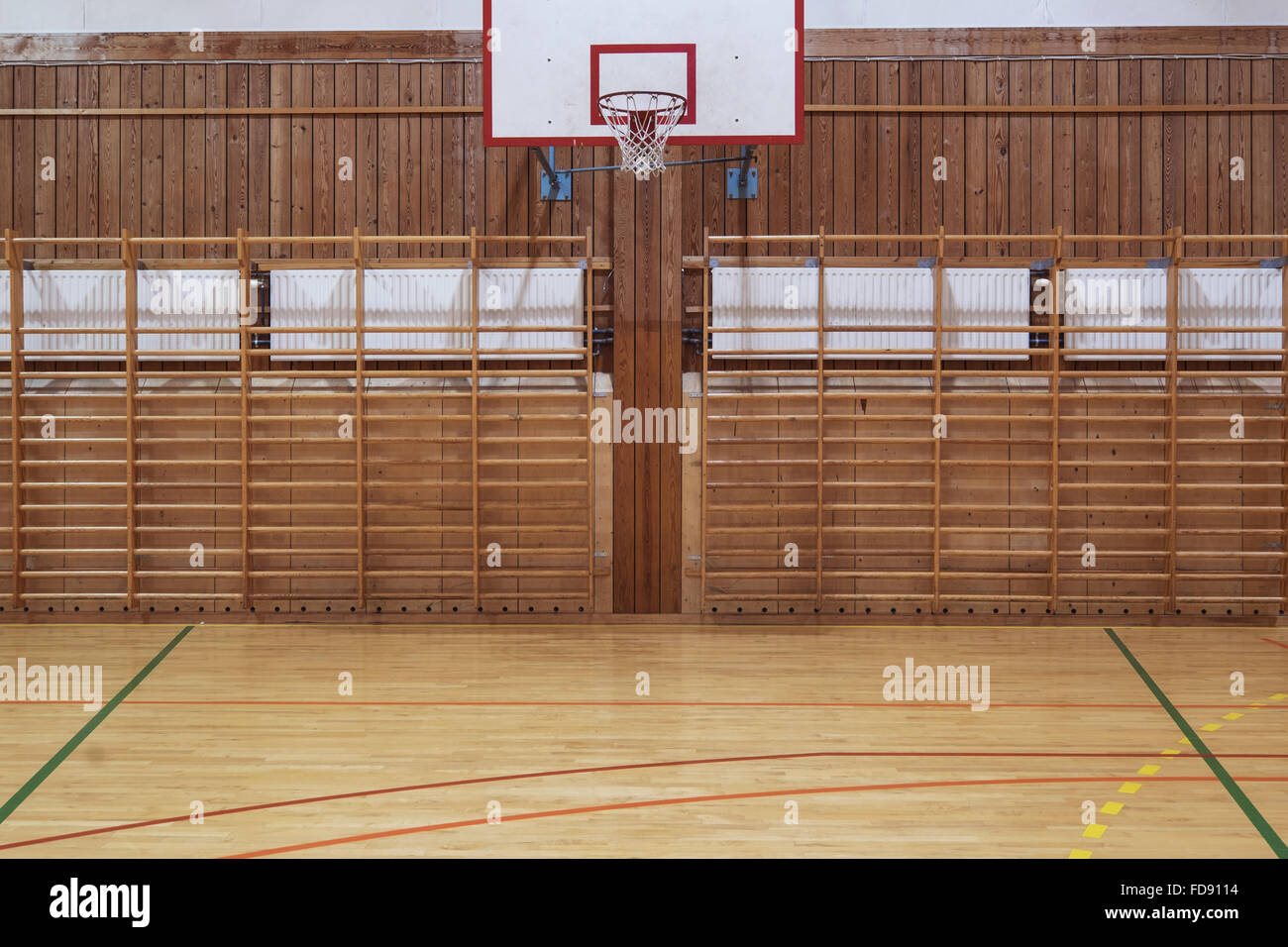 View from center court in old gymhall - Stock Image