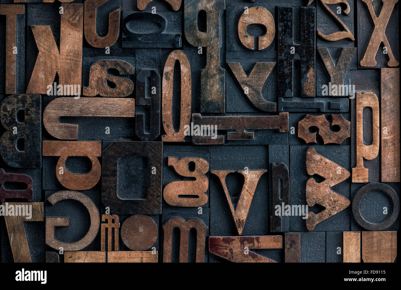 Collection of various wood type letters for printing - Stock Image
