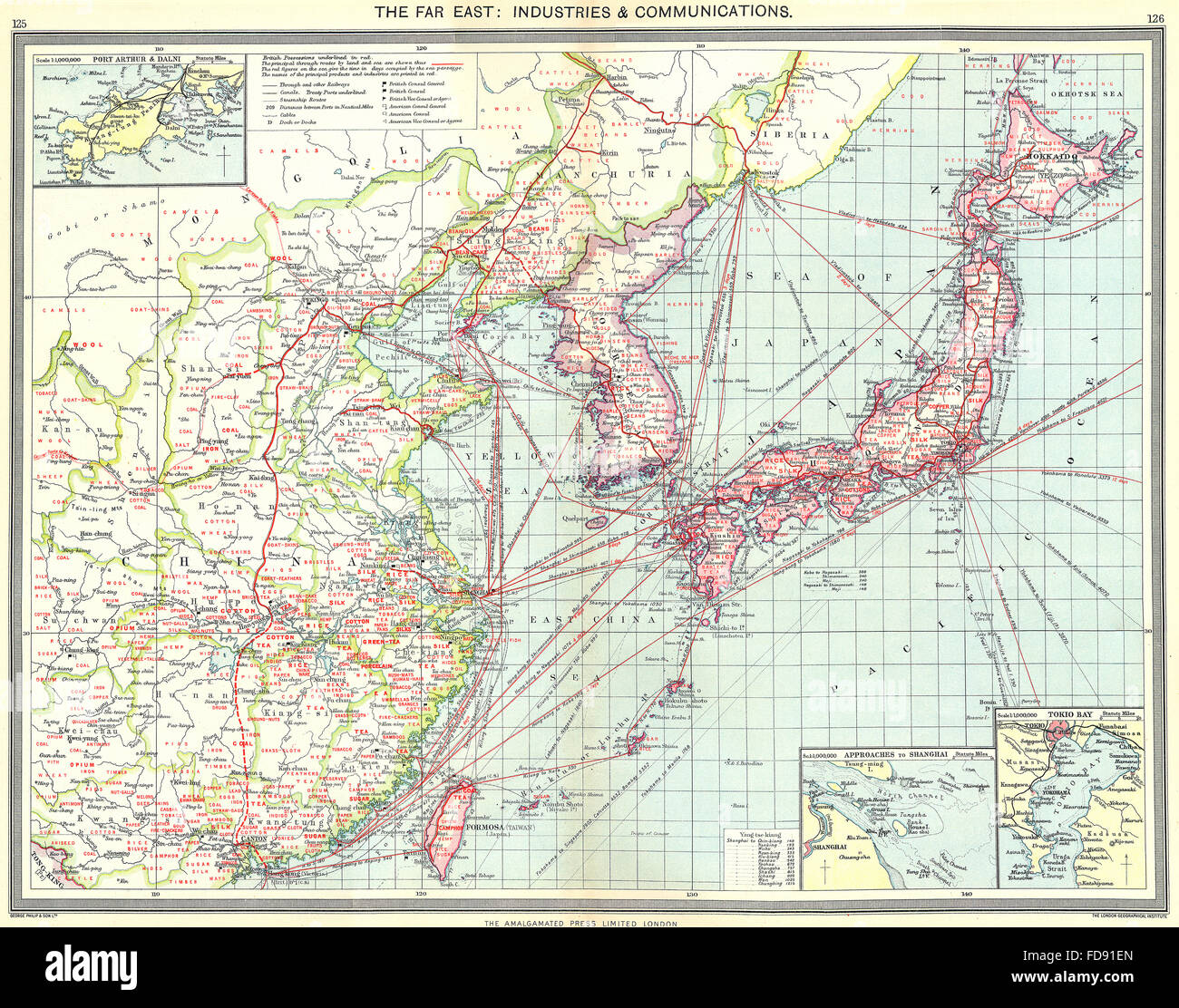 Japan korea china taiwan industry communications tokyo port stock japan korea china taiwan industry communications tokyo port arthur 1907 map gumiabroncs Images