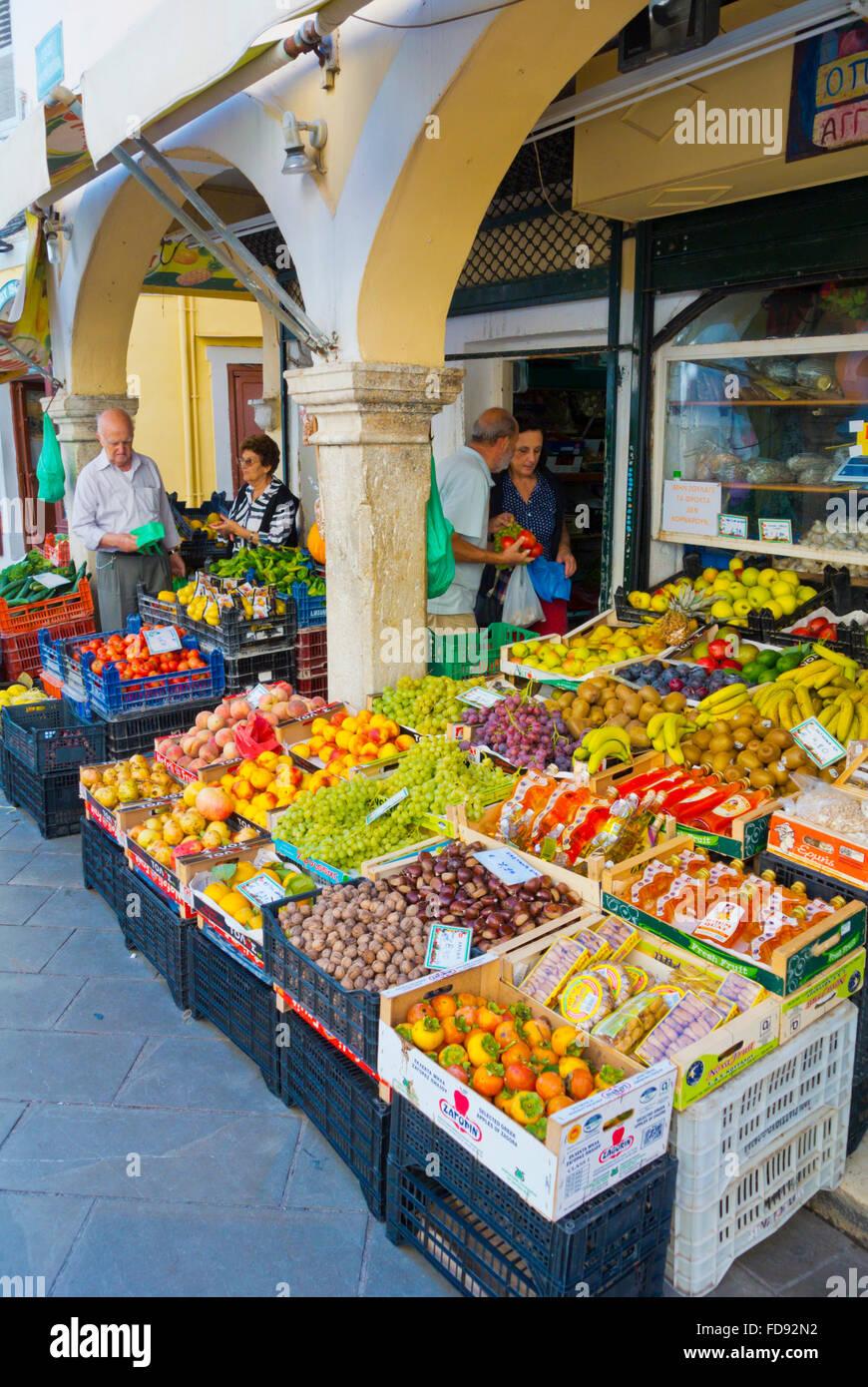 Grocery shop, Nikiforou Theotoki street, Old town, Corfu, Ionian islands, Greece - Stock Image