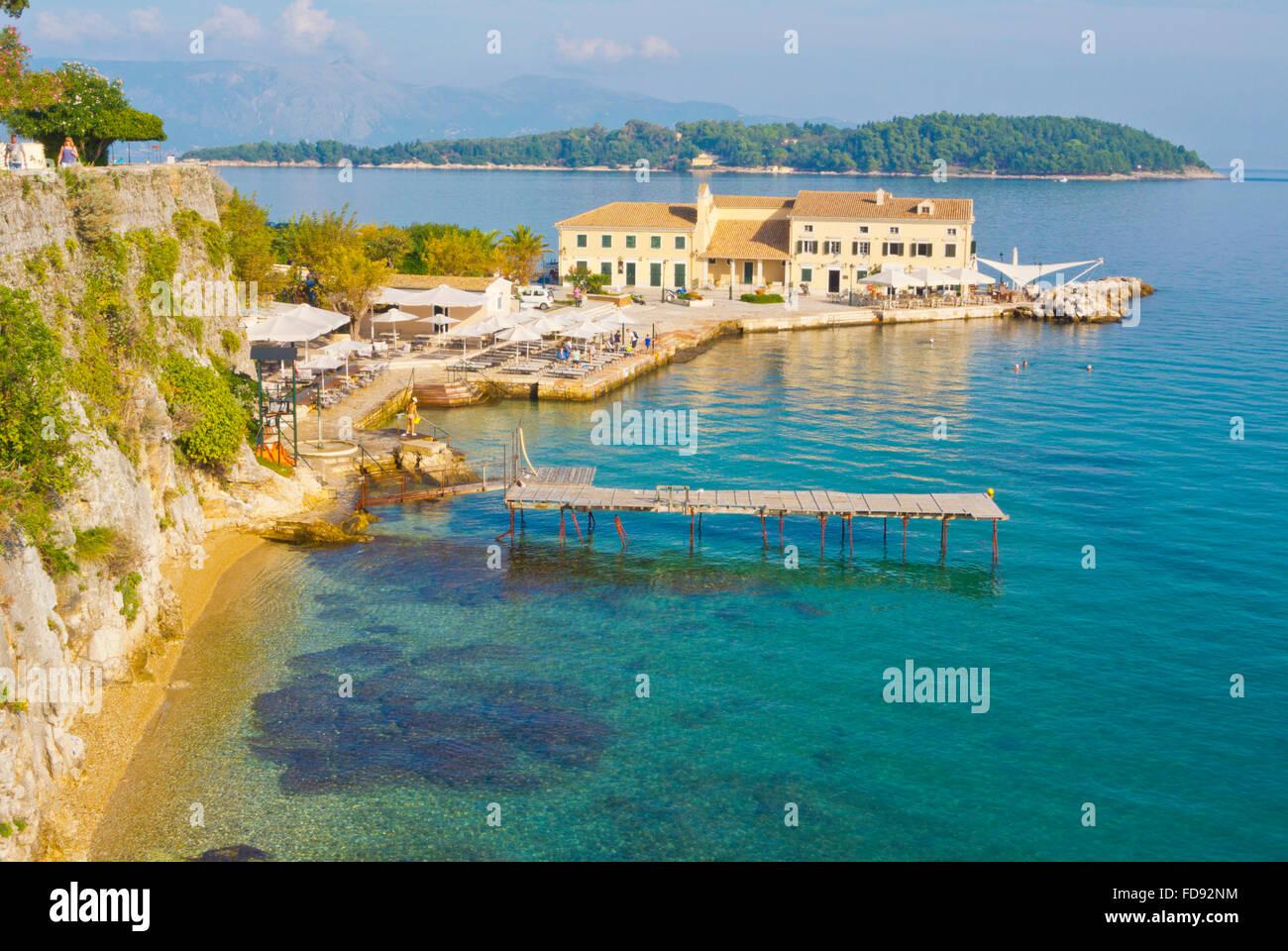 Faliraki, beach and restaurant, Corfu town, Corfu Island, Ionian islands, Greece - Stock Image