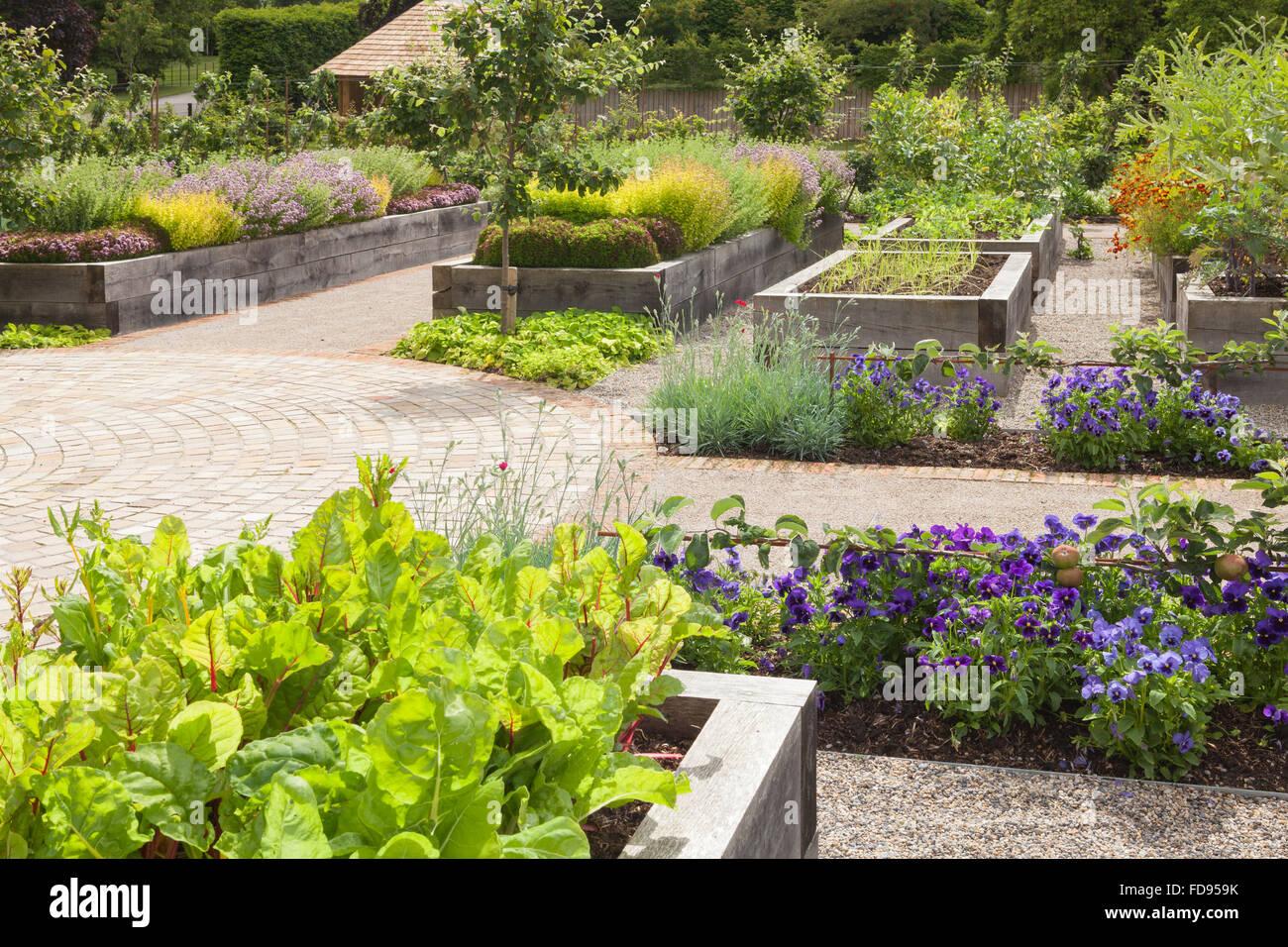The Kitchen Garden at Rudding Park, North Yorkshire, UK. Summer, July 2015. Stock Photo