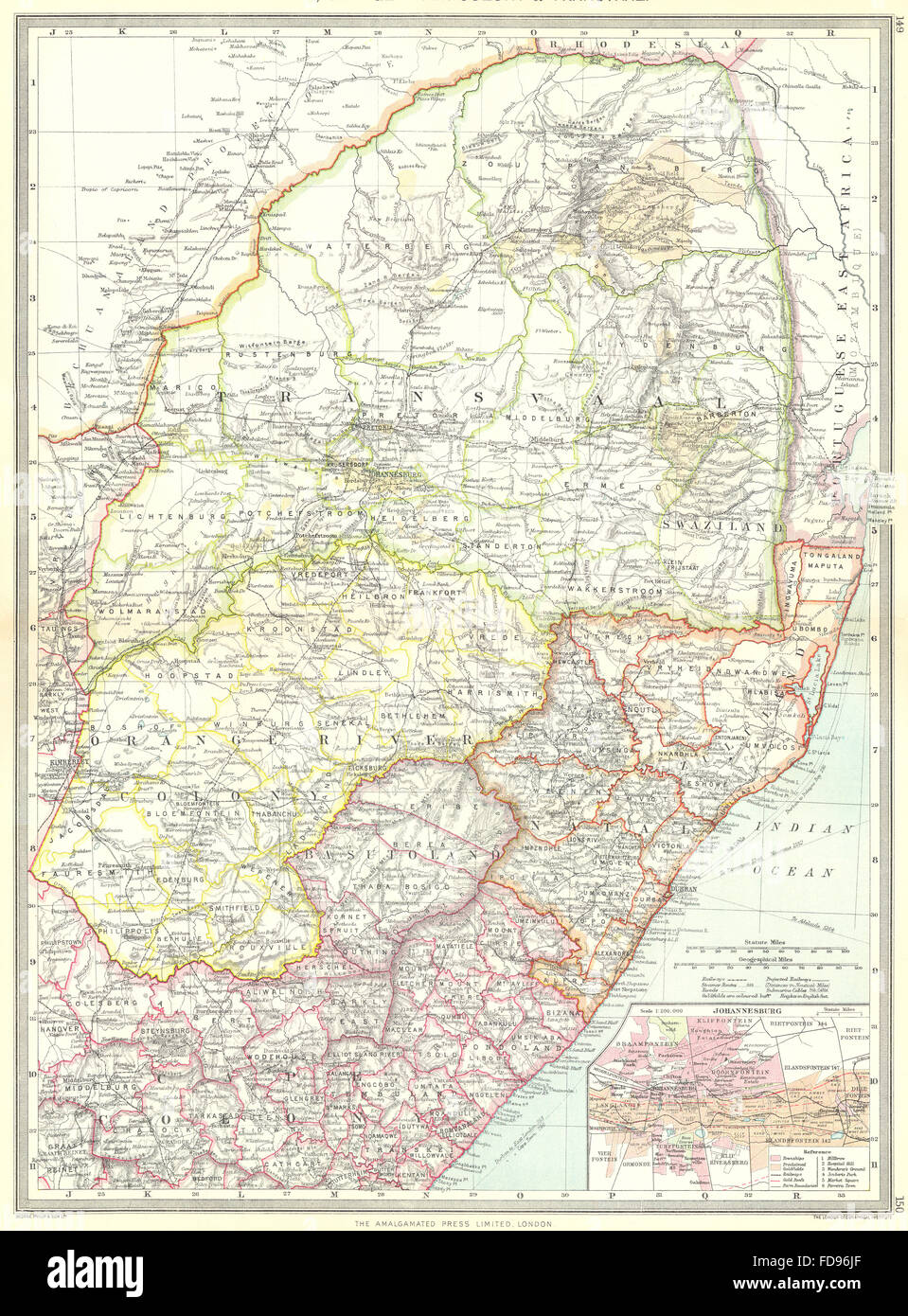 Natal South Africa Map.South Africa Natal Orange River Colony Transvaal Map Of Stock