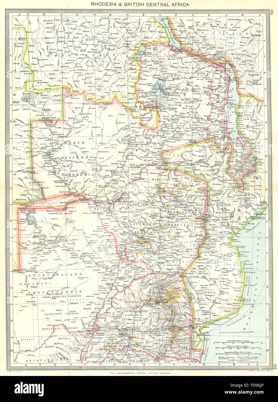 ZIMBABWE: Rhodesia and British Central Africa, 1907 antique map - Stock Image