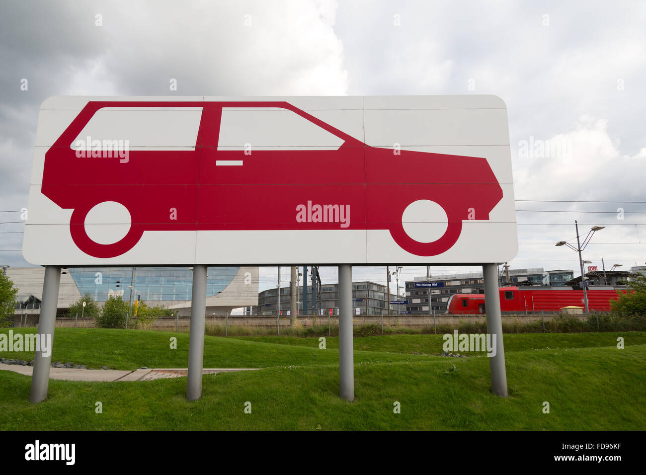 Wolfsburg, Germany, graphical representation of a car on stilts - Stock Image