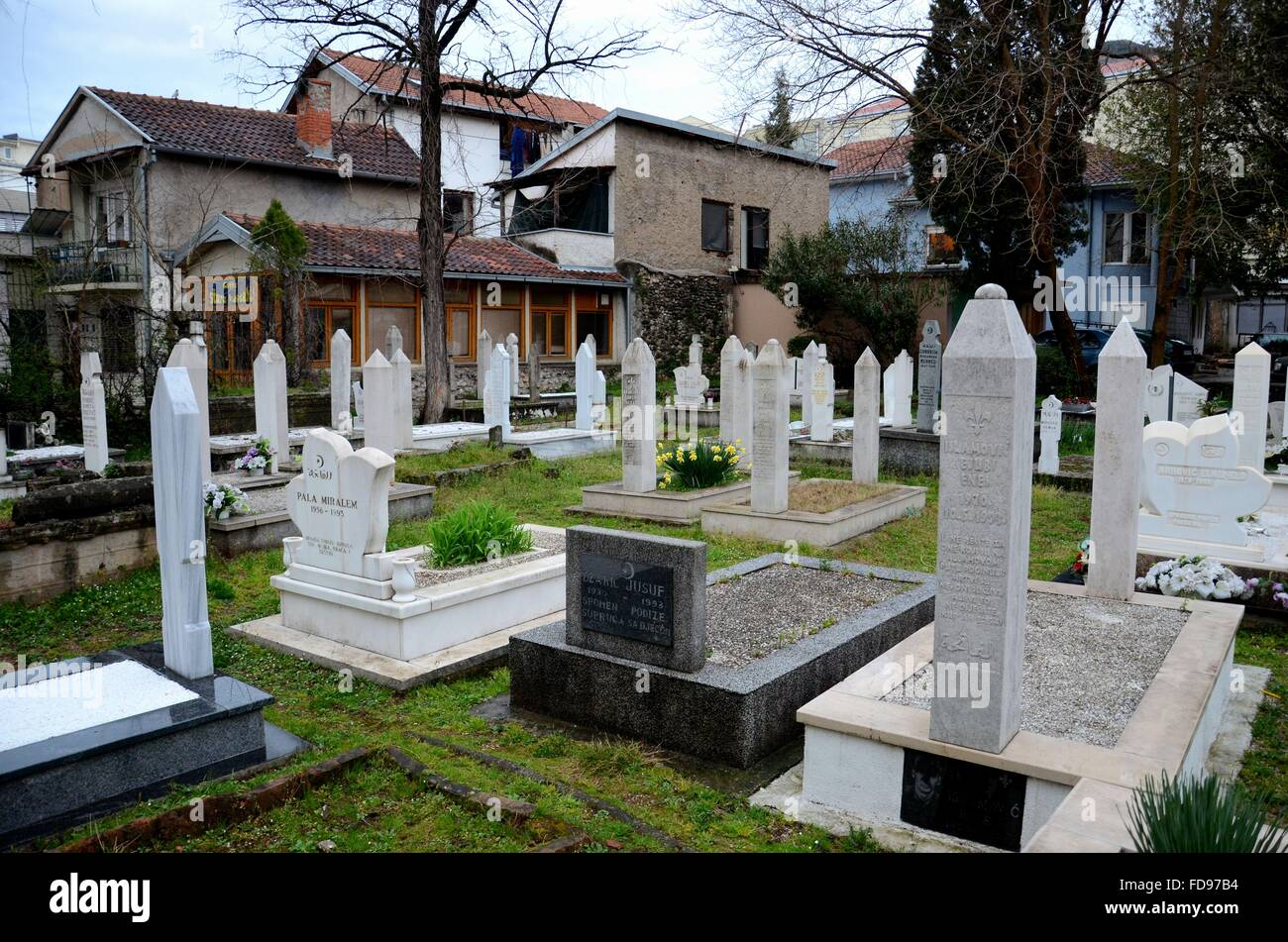 Muslim graveyard ornate marble tombstones at Mostar Islamic cemetery Bosnia Herzegovina - Stock Image